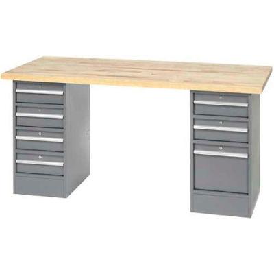 """96"""" W x 30"""" D Pedestal Workbench W/ 7 Drawers, Maple Butcher Block Square Edge - Gray"""
