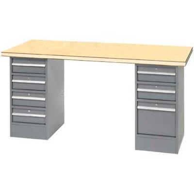 """96"""" W x 30"""" D Pedestal Workbench W/ 7 Drawers, Shop Top Square Edge- Gray"""