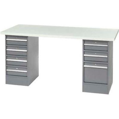 "96"" W x 30"" D Pedestal Workbench W/ 7 Drawers, ESD Laminate Sqaure Edge- Gray"