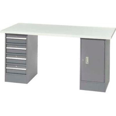 "96"" W x 30"" D Pedestal Workbench W/ 4 Drawers & Cabinet, Plastic Laminate Square Edge  - Gray"