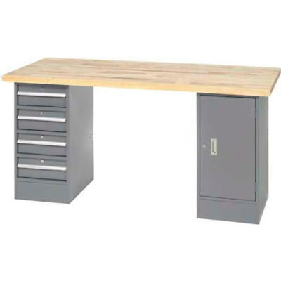 "96"" W x 30"" D Pedestal Workbench W/ 4 Drawers & Cabinet, Birch Butcher Block Square Edge- Gray"