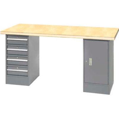 "96"" W x 30"" D Pedestal Workbench W/ 4 Drawers & Cabinet, Shop Top Square Edge- Gray"