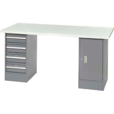 "96"" W x 30"" D Pedestal Workbench W/ 4 Drawers & Cabinet, ESD Laminate Sqaure Edge- Gray"