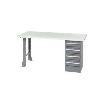 """96"""" W x 30"""" D Pedestal Workbench W/ 4 Drawers & Open Leg, Plastic Laminate Square Edge - Gray"""
