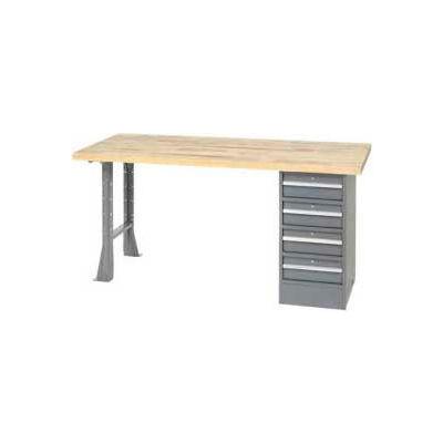 Global Industrial™ 96 x 30 Pedestal Workbench - 4 Drawers & Open Leg, Birch Block - Gray