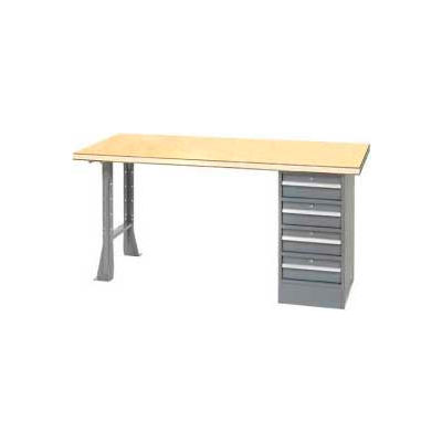 Global Industrial™ 96 x 30 Pedestal Workbench - 4 Drawers & Open Leg, Shop Top Square Edge Gray