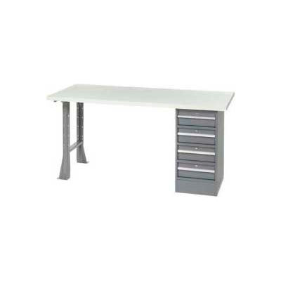 Global Industrial™ 96 x 30 Pedestal Workbench - 4 Drawers & Open Leg, ESD Square Edge Gray