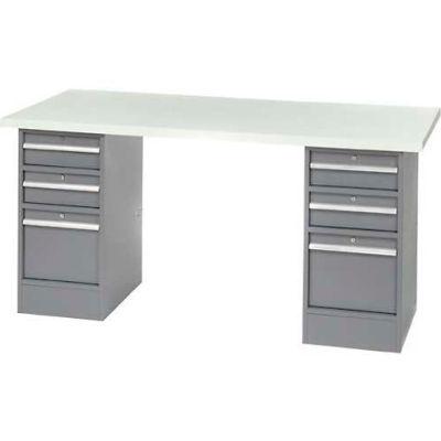 "96"" W x 30"" D Pedestal Workbench W/ 6 Drawers, Plastic Laminate Square Edge  - Gray"