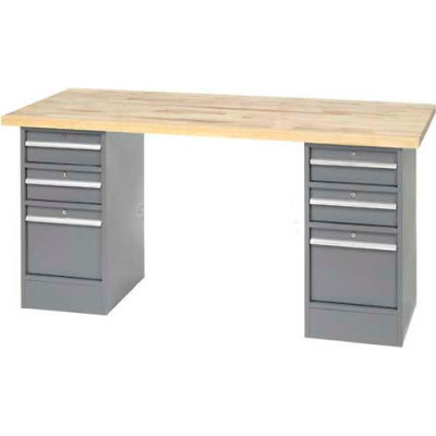 "96"" W x 30"" D Pedestal Workbench W/ 6 Drawers, Birch Butcher Block Square Edge- Gray"