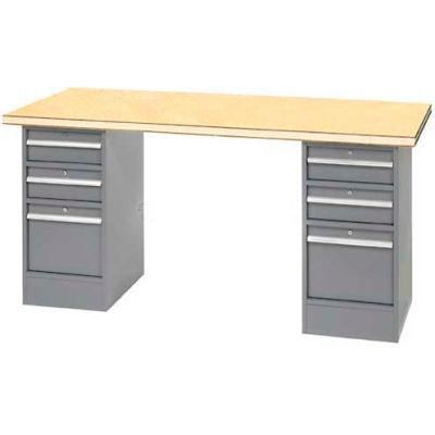 """96"""" W x 30"""" D Pedestal Workbench W/ 6 Drawers, Shop Top Square Edge- Gray"""