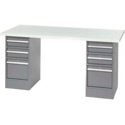 "96"" W x 30"" D Pedestal Workbench W/ 6 Drawers, ESD Laminate Sqaure Edge- Gray"