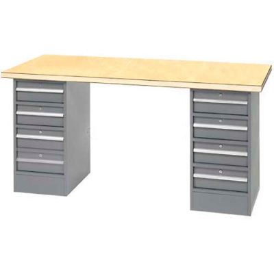 """96"""" W x 30"""" D Pedestal Workbench W/ 8 Drawers, Shop Top Square Edge- Gray"""