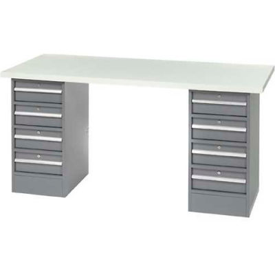 "96"" W x 30"" D Pedestal Workbench W/ 8 Drawers, ESD Laminate Sqaure Edge- Gray"