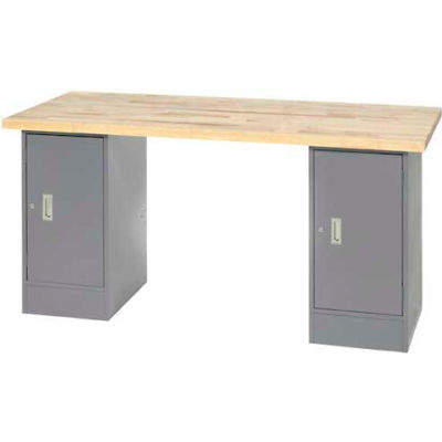 "96"" W x 30"" D Pedestal Workbench W/ Double Cabinet, Maple Butcher Block Square Edge - Gray"