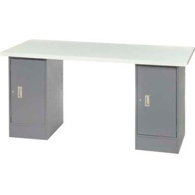 "96"" W x 30"" D Pedestal Workbench W/ Double Cabinet, Plastic Laminate Square Edge  - Gray"