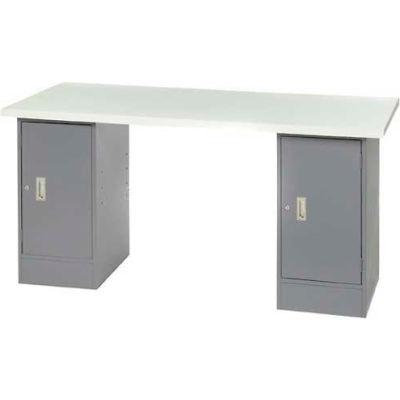 "96"" W x 30"" D Pedestal Workbench W/ Double Cabinet, ESD Laminate Sqaure Edge- Gray"