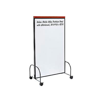 Global Industrial™ Deluxe Mobile Office Partition Panel, Double-sided Whiteboard, 36-1/4Wx65H
