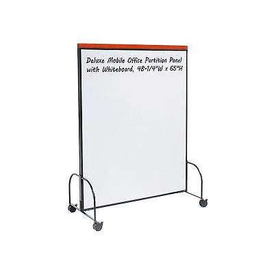 Global Industrial™ Deluxe Mobile Office Partition Panel, Double-sided Whiteboard, 48-1/4Wx65H
