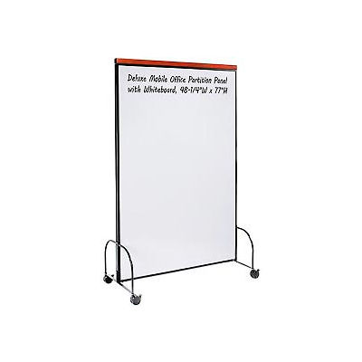 Global Industrial™ Deluxe Mobile Office Partition Panel, Double-sided Whiteboard, 48-1/4Wx77H