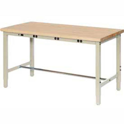 Global Industrial™ 60 x 30 Adjustable Height Workbench - Power Apron - Birch Square Edge - Tan