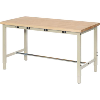 Global Industrial™ 96 x 36 Adjustable Height Workbench - Power Apron - Birch Square Edge - Tan