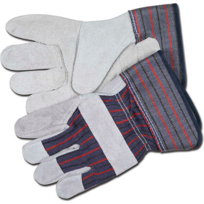 """Memphis® Leather Palm Gloves with 2-1/2"""" Rubberized Safety Cuff, Size L, 1 Dozen"""
