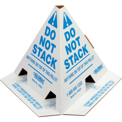 """Global Industrial™ """"Do Not Stack"""" Printed Pallet Cones, White, Pack of 50"""