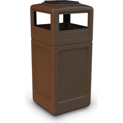 42 Gallon Square Trash Container with Ashtray Lid, Brown - 73303799