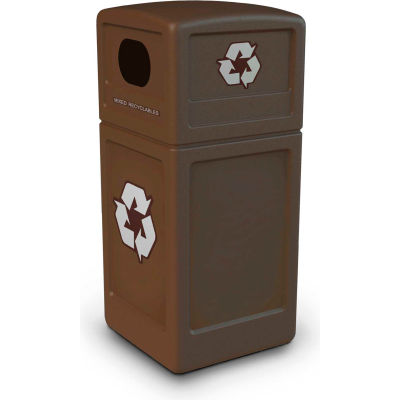 42 Gallon Square Recycling Plastic Container, Brown - 74613799