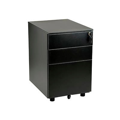 Interion® 3 Drawer Low File Cabinet - Black