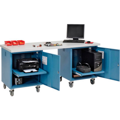 Global Industrial™ 72 x 30 Plastic Square Edge Mobile Pedestal Workbench Blue