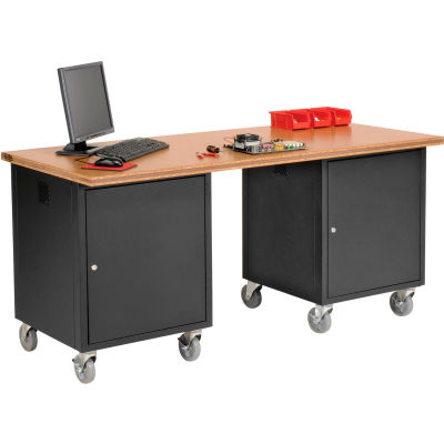 Global Industrial™ 72 x 30 Shop Top Square Edge Mobile Pedestal Workbench Black