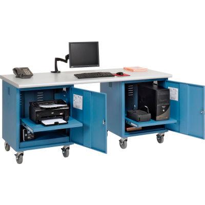 Global Industrial™ 72 x 30 Plastic Safety Edge Mobile Pedestal Workbench Blue