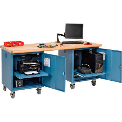 Global Industrial™ 72 x 30 Maple Safety Edge Mobile Pedestal Workbench Blue