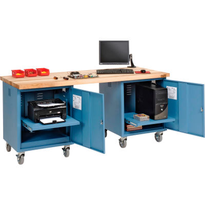 Global Industrial™ 72 x 30 Maple Square Edge Mobile Pedestal Workbench Blue