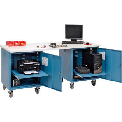 Global Industrial™ 72 x 30 ESD Square Edge Mobile Pedestal Workbench Blue