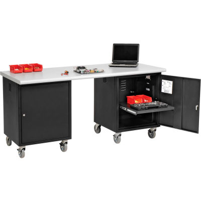 Global Industrial™ 72 x 30 ESD Safety Edge Mobile Pedestal Workbench Black