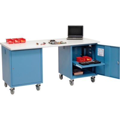 Global Industrial™ 72 x 30 ESD Safety Edge Mobile Pedestal Workbench Blue