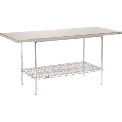 "16 Gauge 304 Stainless Steel Work Table with Wire Undershelf - 72""W x 30""D"