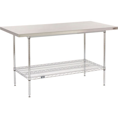 "Global Industrial™ 16 Gauge 304 Stainless Steel Work Table with Wire Undershelf - 60""W x 30""D"
