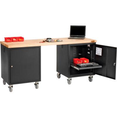 Global Industrial™ 72 x 24 Maple Square Edge Mobile Pedestal Workbench Black
