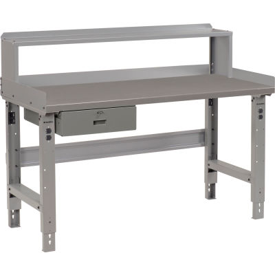 Global Industrial™ 60 x 36 Adj Height Workbench w/Drawer & Riser, Steel Square Edge Top - Gray