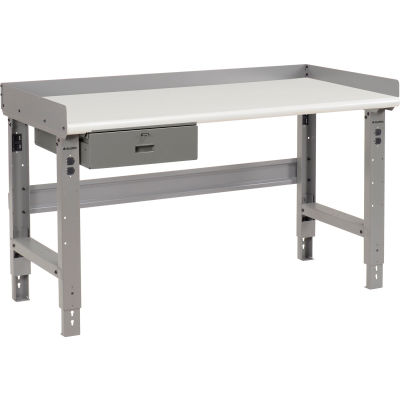 """Global Industrial™ Workbench w/ Laminate Safety Edge Top & Drawer, 72""""W x 30""""D, Gray"""