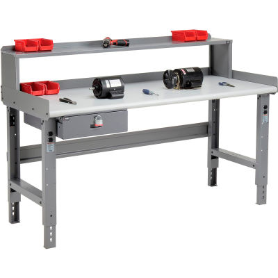 Global Industrial™ 72 x 30 Adj Height Workbench w/Drawer & Riser, Laminate Safety Top - Gray