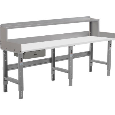 Global Industrial™ 96 x 30 Adj Height Workbench w/Drawer & Riser, Laminate Square Top - Gray