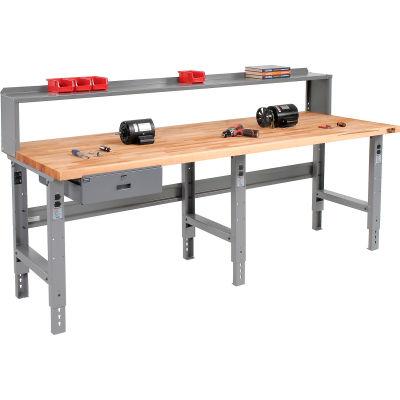 Global Industrial™ 96 x 36 Adj Height Workbench w/Drawer & Riser, Maple Square Edge Top - Gray