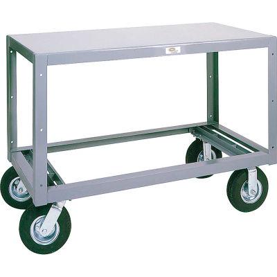 Modern Equipment MECO 6MS244-1 Mobile Steel Table 1 Shelf 24x48 Polyolefin 3000 Lb.