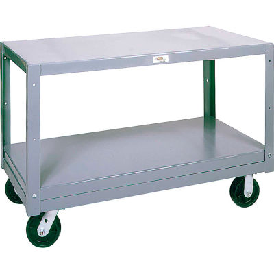 Modern Equipment MECO 6MS304-2 Mobile Steel Table 2 Shelf 30x48 Polyolefin 3000 Lb.