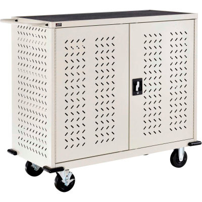 Global Industrial™ Mobile Charging Cart for 24 Chromebooks & Tablets, Putty, Assembled