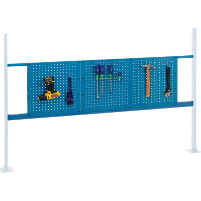 """Global Industrial™ Panel Kit for 72""""W Workbench - 18""""W and 36""""W Pegboards, Mounting Rail Blue"""